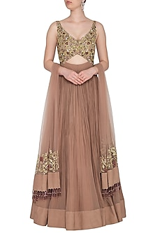 Almond Embroidered & Pleated Cutout Gown With Dupatta by Nitika Kanodia Gupta