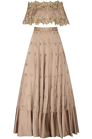 Almond Embroidered Off Shoulder Cape With Bustier & Lehenga Skirt by NIKITA KANODIA GUPTA