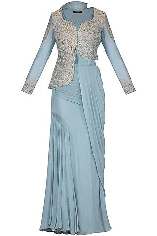 Baby Blue Pre-Stitched Drape Saree With Jacket by NIKITA KANODIA GUPTA