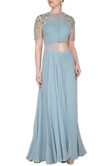 Baby Blue Embroidered Cutout Tunic With Palazzo Pants by Dheeru and Nitika