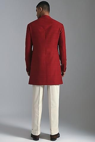 Ruby Red Sherwani With Pintucks by Dhruv Vaish