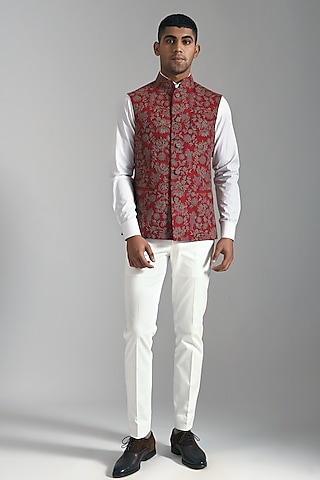 Ruby Red Embroidered Jacket by Dhruv Vaish
