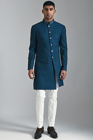 Carbon Blue Embroidered Sherwani by Dhruv Vaish