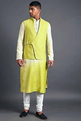Apple Green Jacket With Buckle Closure by Dhruv Vaish