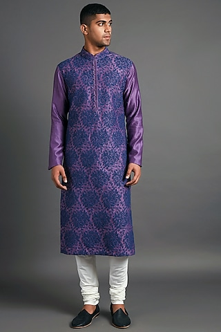 Blue & Violet Embroidered Kurta Set by Dhruv Vaish