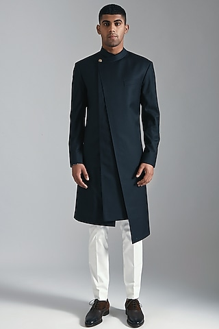 Black Asymmetric Kurta With Pants by Dhruv Vaish