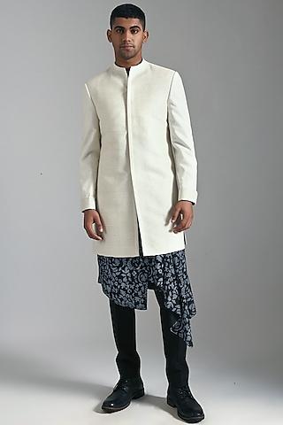 Ivory Sherwani With Pintucks by Dhruv Vaish