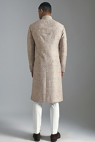 Taupe Embroidered Sherwani Set by Dhruv Vaish