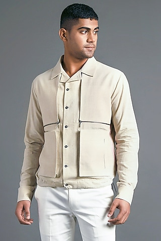 Sand Stone Shirt With Two Pockets by Dhruv Vaish