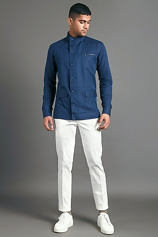 Navy Blue Shirt With Zipper by Dhruv Vaish