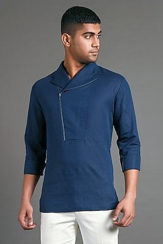 Navy Blue Shirt With Asymmetric Zipper by Dhruv Vaish