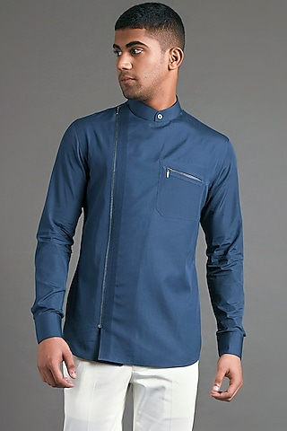 Slate Blue Shirt With Pintucks by Dhruv Vaish