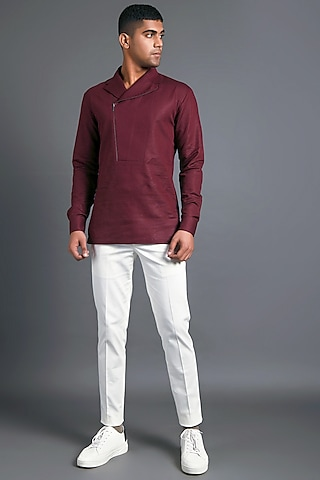 Merlot Shirt With Asymmetric Zipper by Dhruv Vaish
