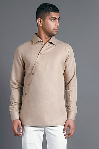 Sand Stone Shirt With Diagonal Placket by Dhruv Vaish