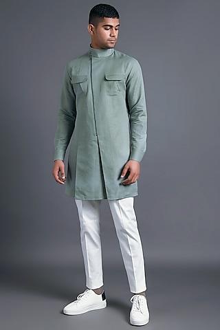 Sage Green Kurta With Asymmetric Zipper by Dhruv Vaish