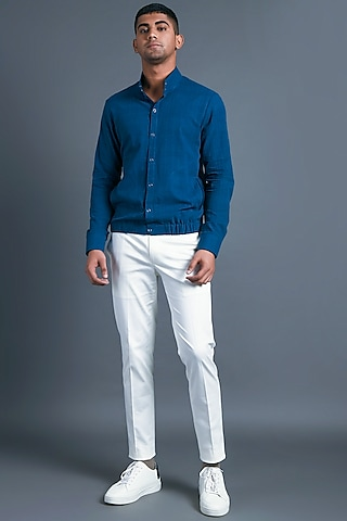 Indigo Blue Shirt With Side Pocket by Dhruv Vaish