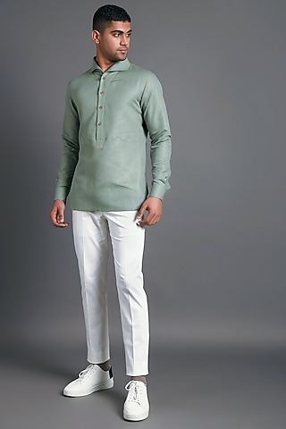 Pista Green Shirt With Seemless Collar by Dhruv Vaish