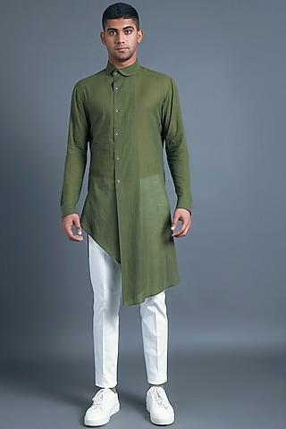 Olive Green Asymmetric Kurta by Dhruv Vaish