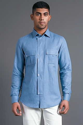 Capri Blue Shirt With Chest Pockets by Dhruv Vaish