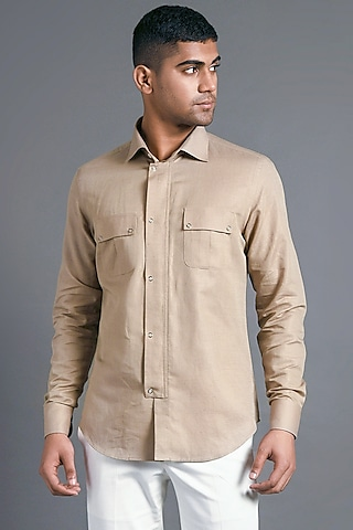 Sand Stone Shirt With Chest Pockets by Dhruv Vaish