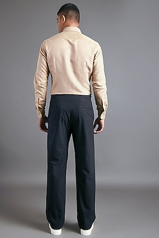 Black Trousers With Flap Closure by Dhruv Vaish