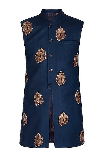 Navy Blue Embroidered Nehru Jacket by Dhruv Vaish