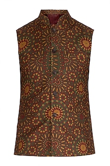 Mustard Mughal Printed Nehru Jacket by Dhruv Vaish