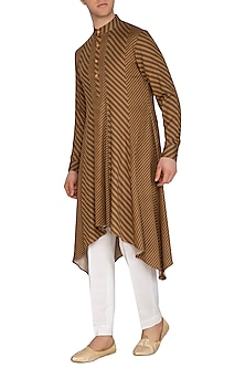 Mustard Stripe Printed Kurta Set by Dhruv Vaish