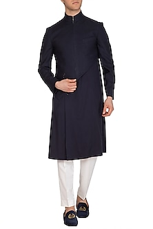 Navy Blue Hybrid Kurta by Dhruv Vaish