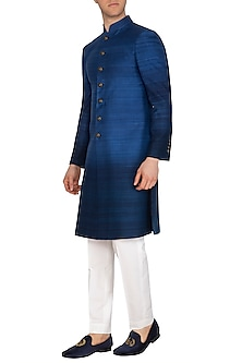 Blue Ombre Sherwani by Dhruv Vaish