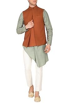 Rust Invert Pleated Nehru Jacket by Dhruv Vaish