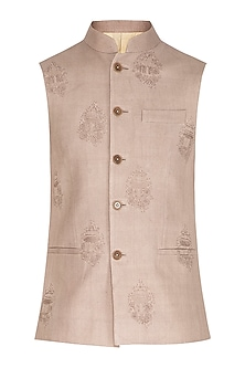 Silver Sand Embroidered Nehru Jacket by Dhruv Vaish