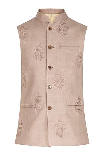 Silver Sand Embroidered Nehru Jacket by Dhruv Vaish