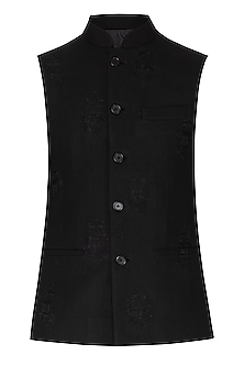 Black Embroidered Nehru Jacket by Dhruv Vaish