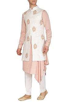 Cream Embroidered Long Nehru Jacket by Dhruv Vaish
