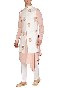 Cream Embroidered Long Nehru Jacket by Dhruv Vaish