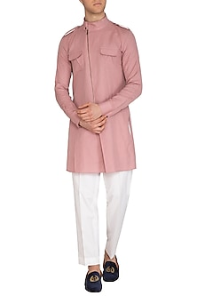 Dusty Pink Overlap Kurta by Dhruv Vaish