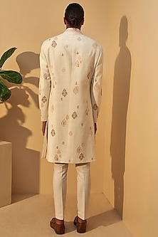 Cream Embroidered Sherwani Set by Dhruv Vaish