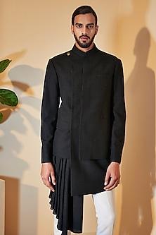 Black Hybrid Draped Sherwani Set by Dhruv Vaish