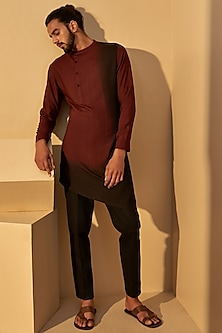 Port Black Dip-Dyed Kurta Set by Dhruv Vaish