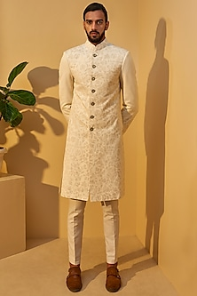 Cream Thread Embroidered Sherwani Set by Dhruv Vaish