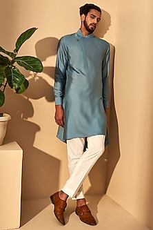 Mineral Blue Asymmetric Kurta Set by Dhruv Vaish