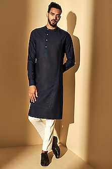 Navy Blue Embroidered Kurta Set by Dhruv Vaish