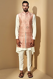 Sand Rose Pink Embroidered Jacket With Cream Kurta Set by Dhruv Vaish