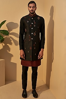 Port Black Embroidered Jacket With Kurta Set by Dhruv Vaish