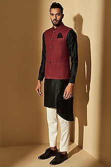 Betel Nut Jawahar Jacket With Pockets by Dhruv Vaish