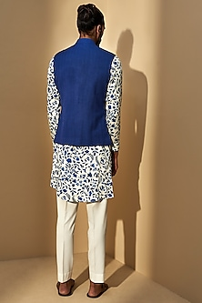 Cobalt Blue Paneled Jawahar Jacket by Dhruv Vaish
