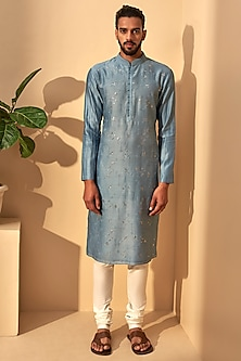 Mineral Blue Embroidered Kurta Set by Dhruv Vaish
