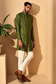 Olive Green Trench Kurta Set by Dhruv Vaish