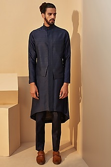 Indigo Blue & Black Embroidered Kurta Set by Dhruv Vaish